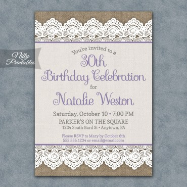 Burlap Lace Birthday Invitations