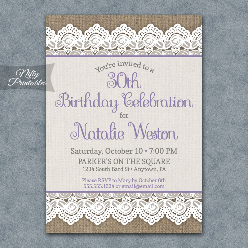 Burlap Lace Birthday Invitations