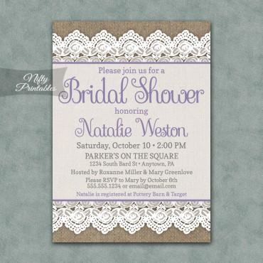 Burlap Lace Bridal Shower Invitations