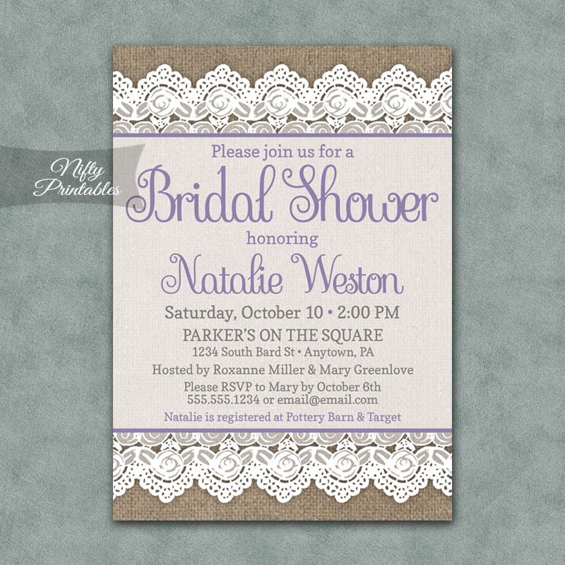 Burlap Lace Bridal Shower Invitations