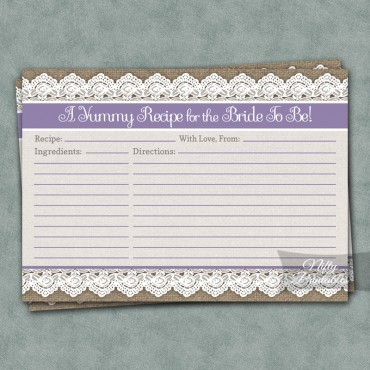 Bridal Shower Recipe Cards - Burlap Lace Lavender