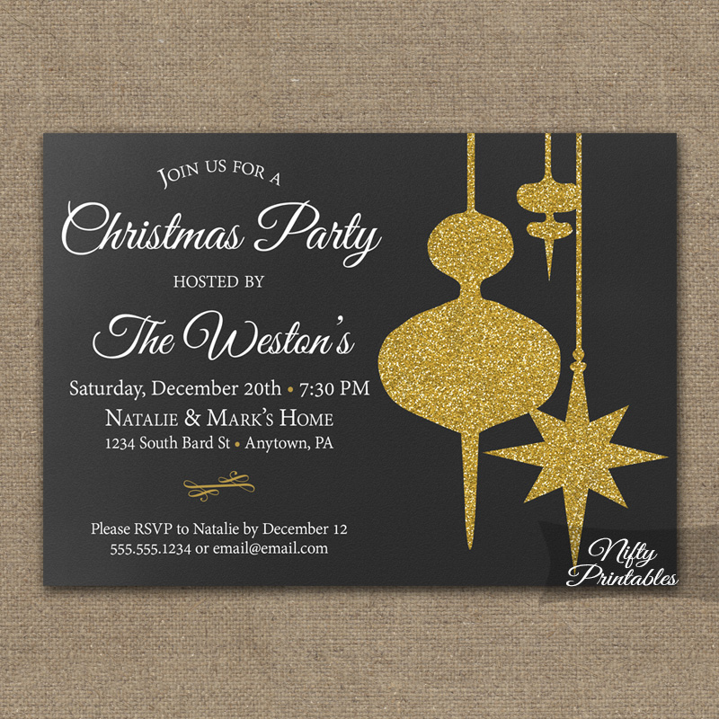 Chalkboard Ornaments Christmas Party Invitations