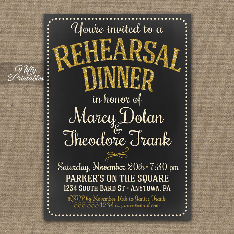 Chalkboard Gold Glitter Rehearsal Dinner Invitations