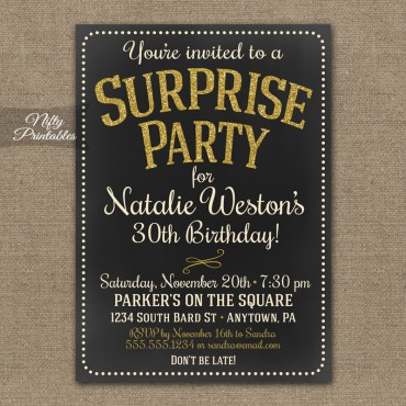 Chalkboard Gold Glitter Surprise Party Invitations