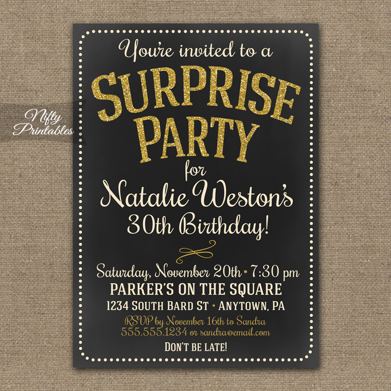 Chalkboard Gold Glitter Surprise Party Invitations