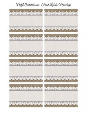 Burlap & Lace Blank Labels Nametags