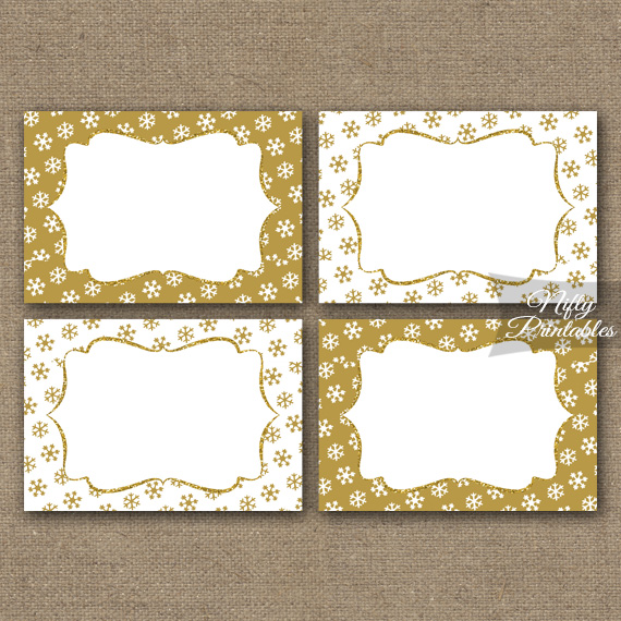 Gold Snowflakes Holiday Labels Favor Tags