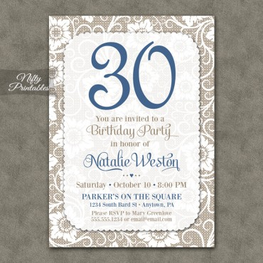 White Lace Blue Birthday Invitations