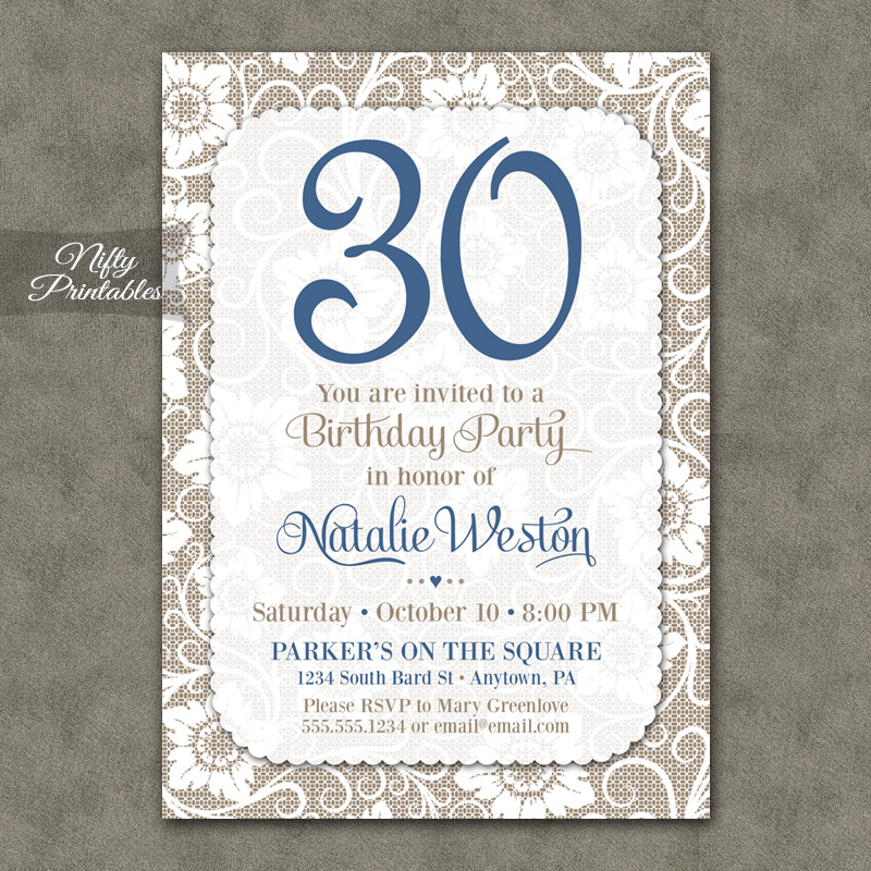 White Lace Blue Birthday Invitations