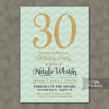 Mint Chevron Gold Birthday Invitations