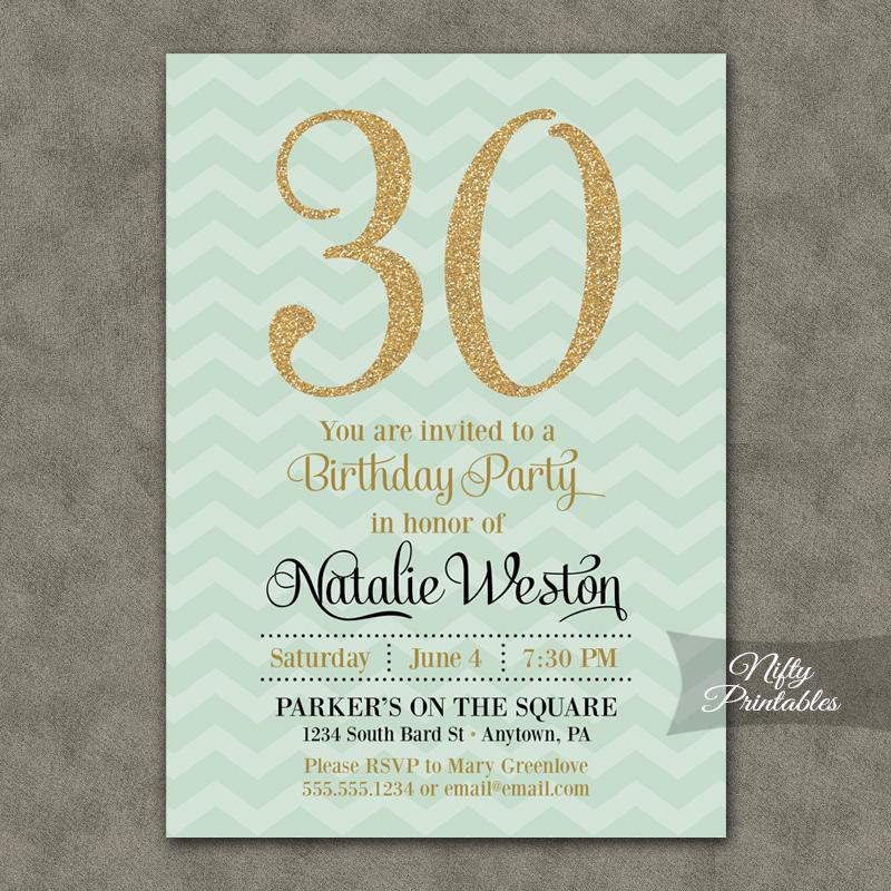 Mint Chevron Gold Birthday Invitations