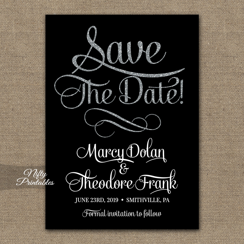Save The Date Black Silver