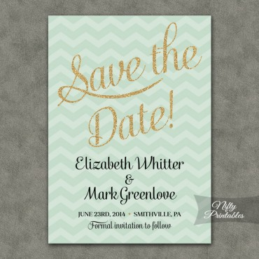 Mint Gold Chevron Save The Date