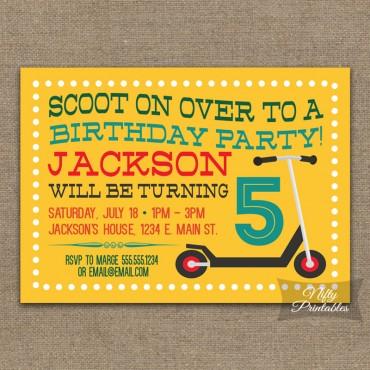 Yellow Scooter Birthday Invitations