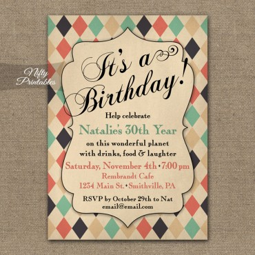 Shabby Diamonds Vintage Birthday Invitations