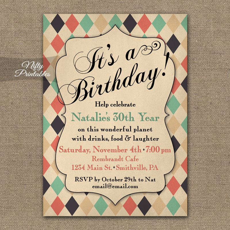 Shabby Diamonds Vintage Birthday Invitations