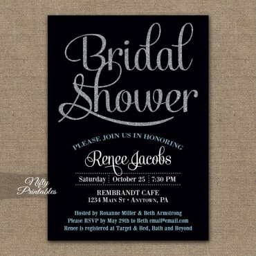 Black Silver Bridal Shower Invitations
