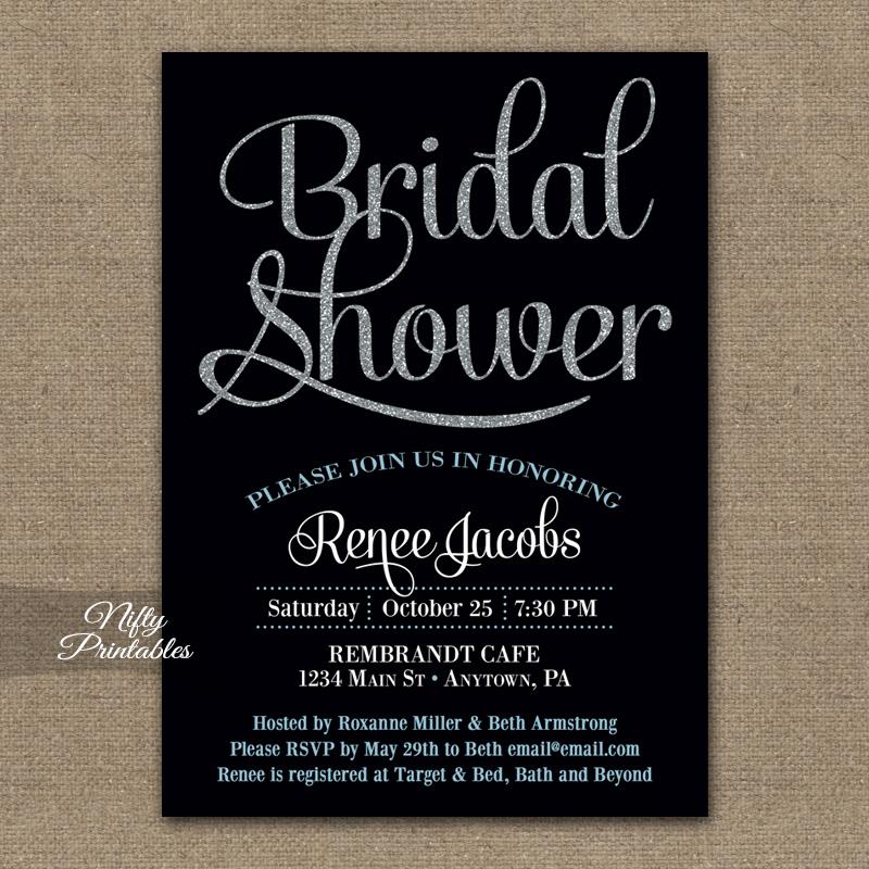 Black Silver Bridal Shower Invitations