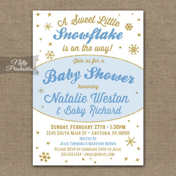 Winter Snowflake Boy Baby Shower Invitations