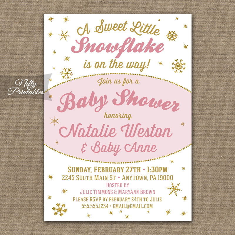 Winter Snowflake Girl Baby Shower Invitations
