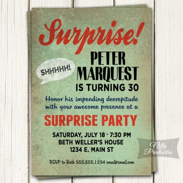 Retro Mint Surprise Birthday Invitations