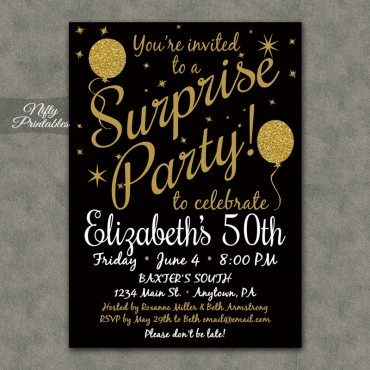 Gold Glitter Balloons Surprise Party Invitations