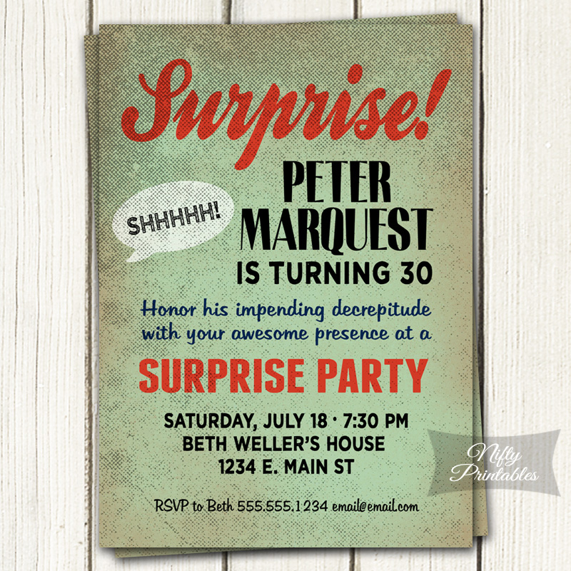 Retro Mint Surprise Birthday Invitations