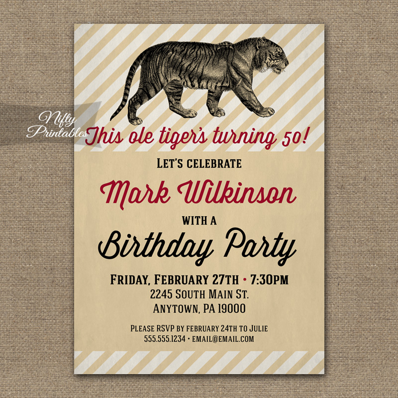 Vintage Tiger Mens Birthday Invitations