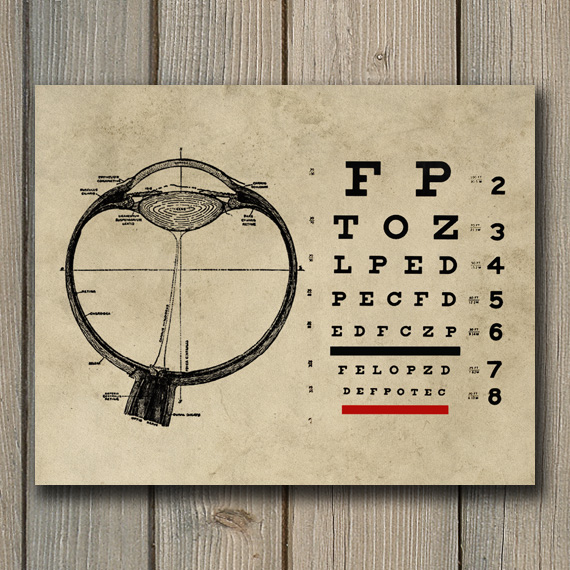 Vintage Ophthalmologist Eyechart Print