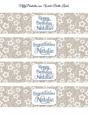 White Lace Printable Water Bottle Labels