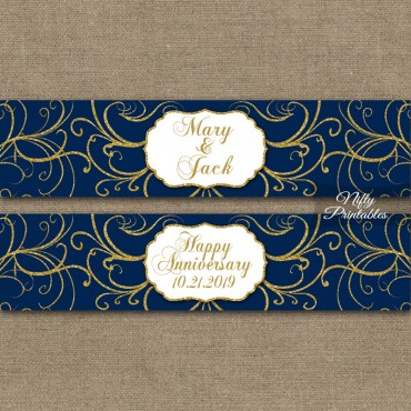 Navy Blue Gold Swirl Printable Water Bottle Labels