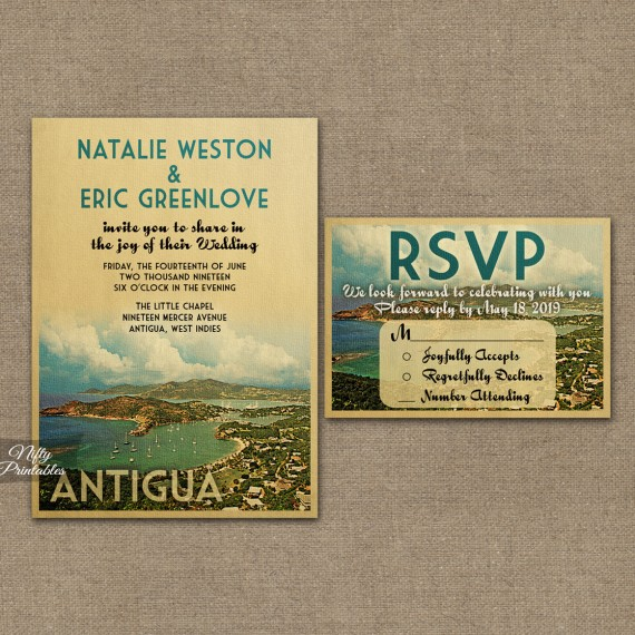 Antigua Save The Date Postcards VTW