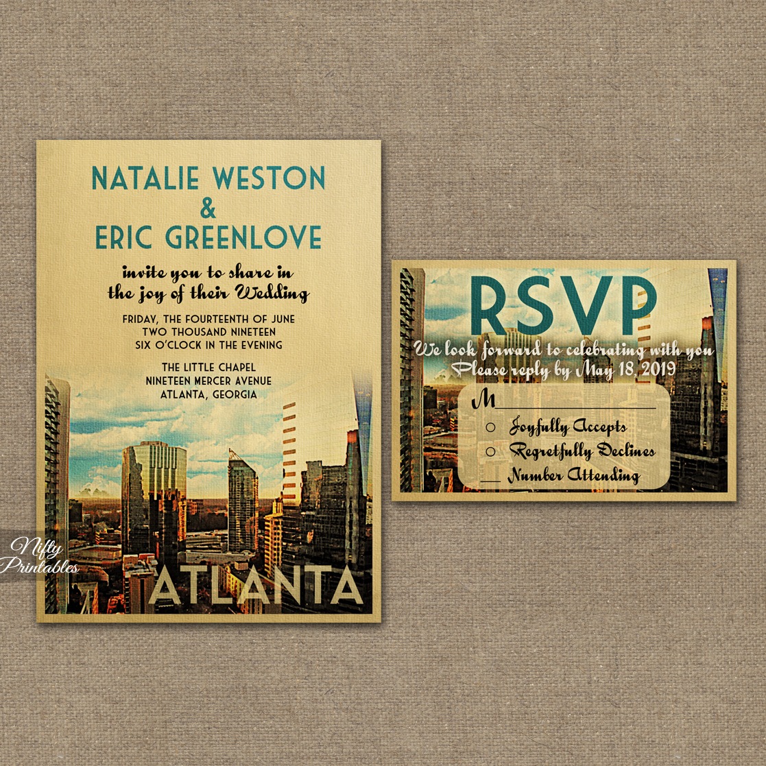 Atlanta Save The Date Postcards VTW Atlanta Save The Date Postcards VTW