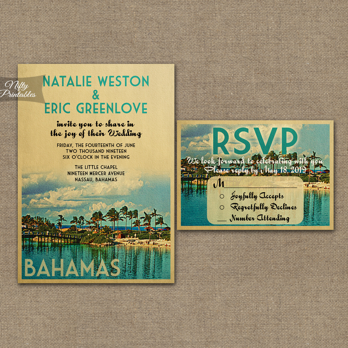 Bahamas Wedding Invitations VTW