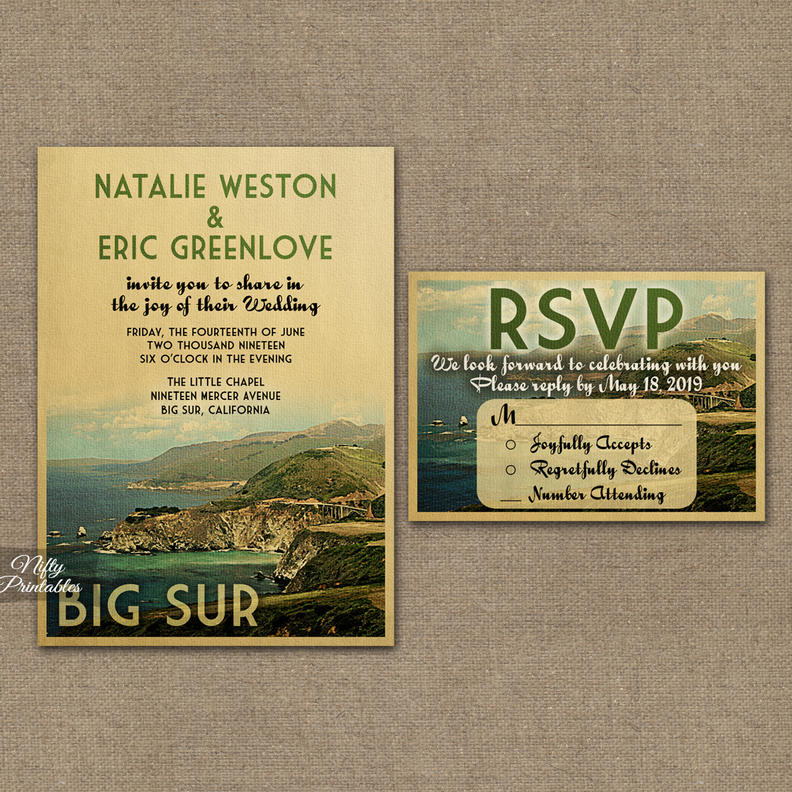 Vintage Travel Wedding Invites