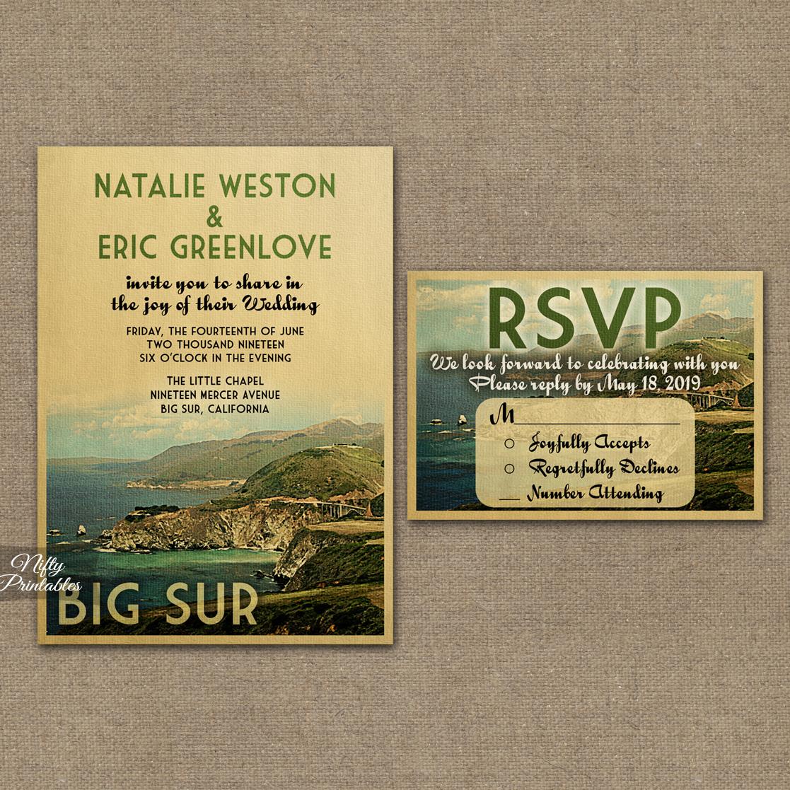 Big Sur California Wedding Invitations VTW