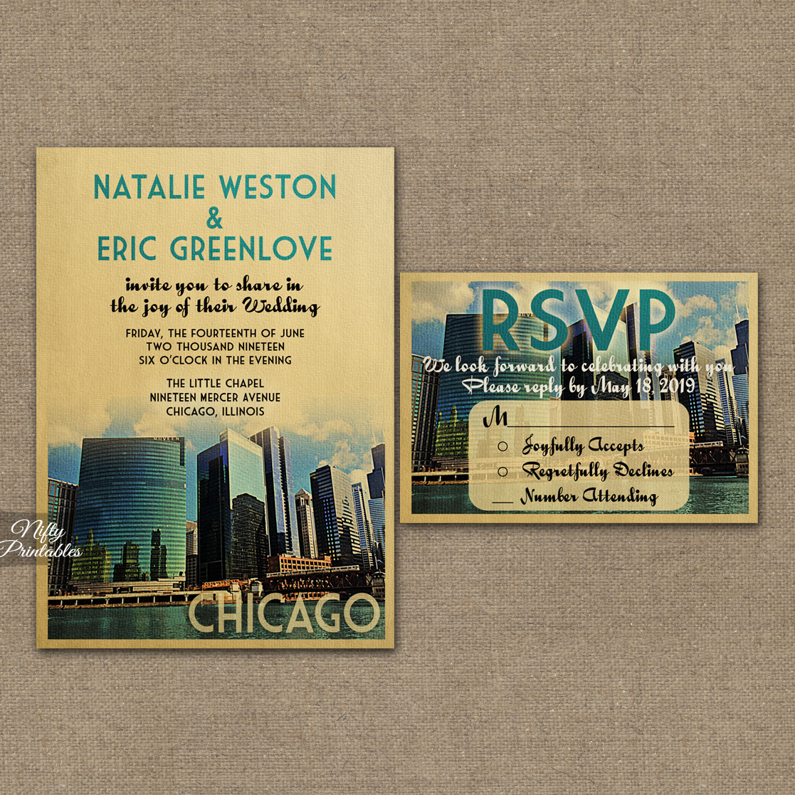 Chicago Wedding Invitations VTW
