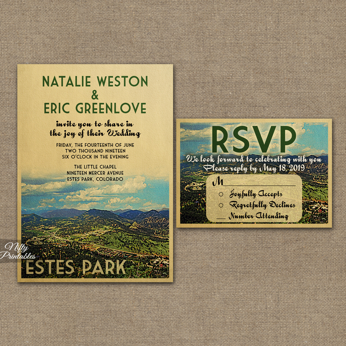 Estes Park Colorado Wedding Invitations VTW
