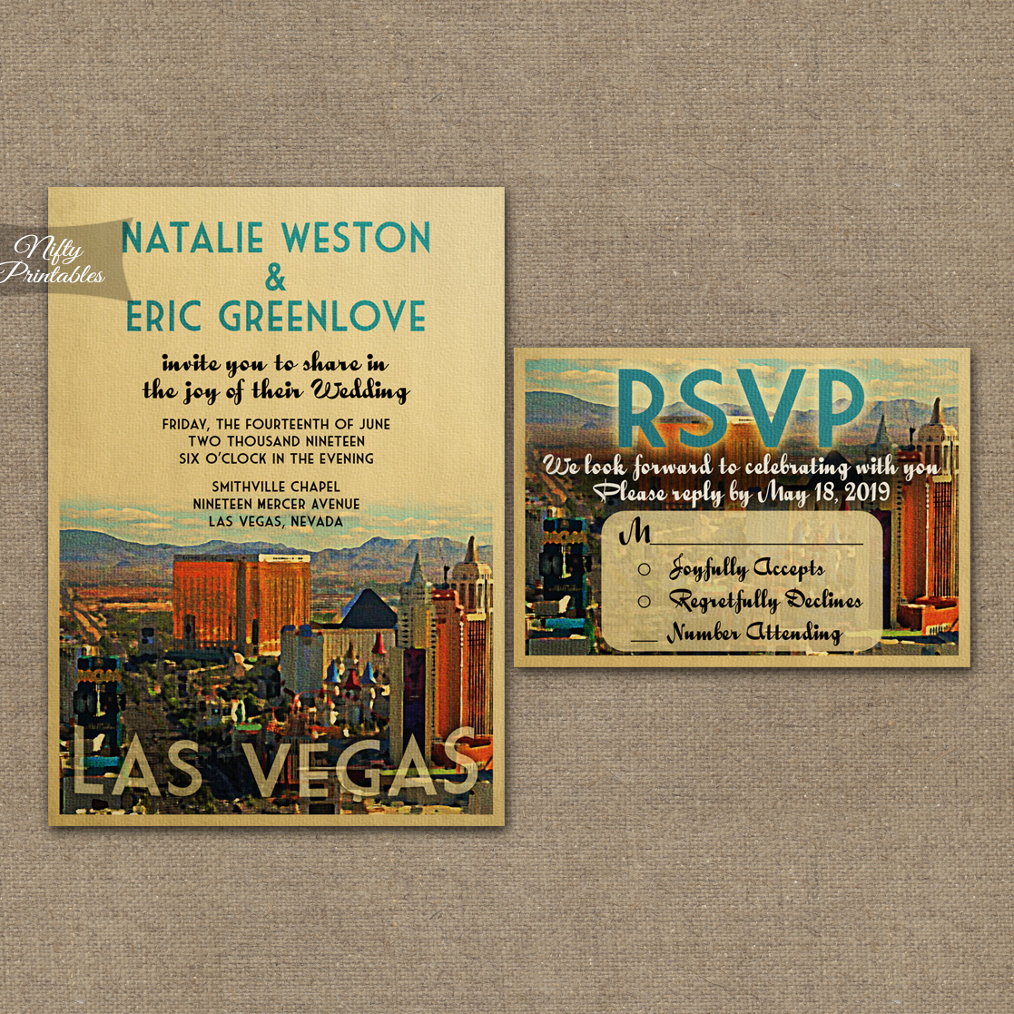 Las Vegas Wedding Invitations VTW