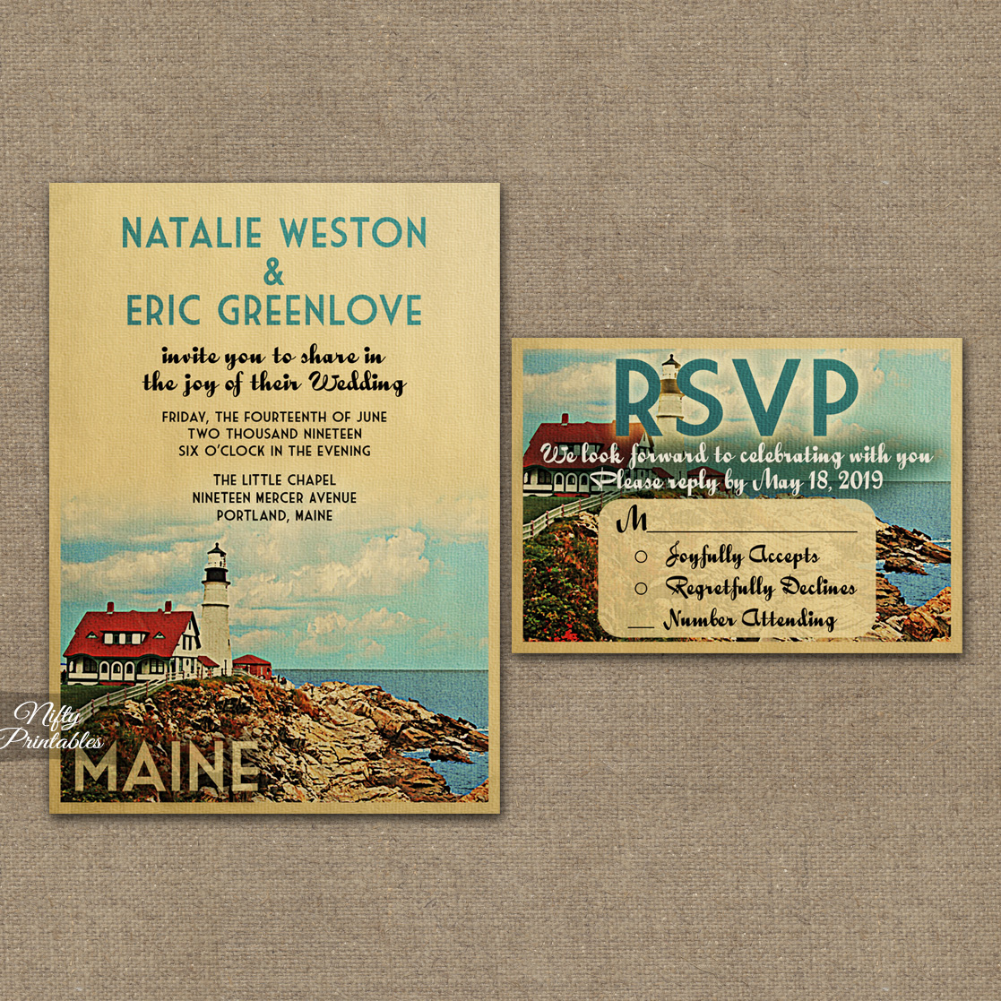 Maine Lighthouse Wedding Invitations VTW