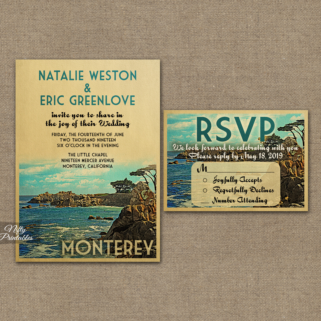 Monterey Wedding Invitations VTW