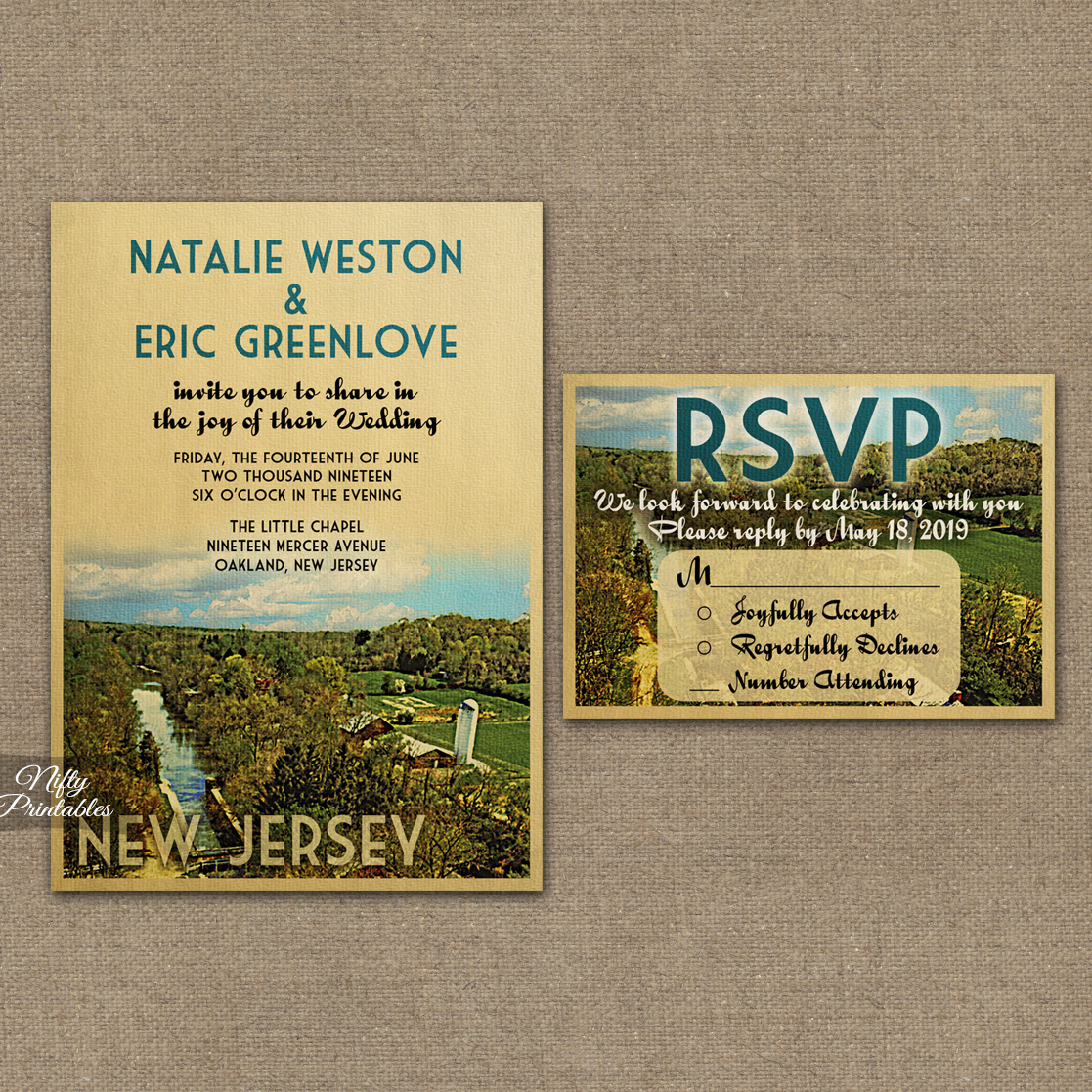 New Jersey Save The Date Postcards VTW
