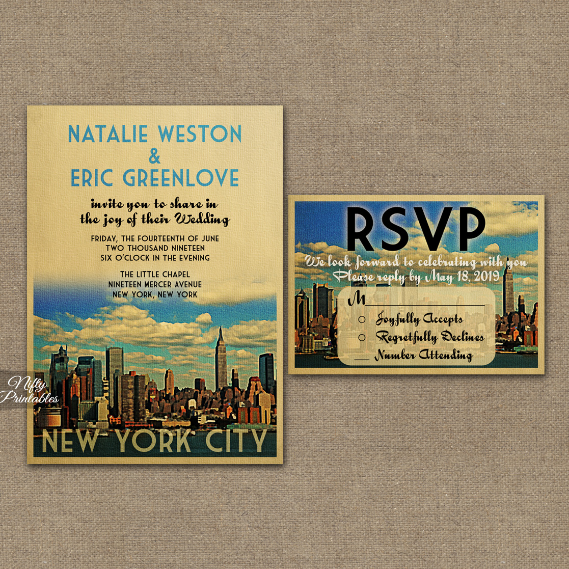 New York City Wedding Invitations VTW