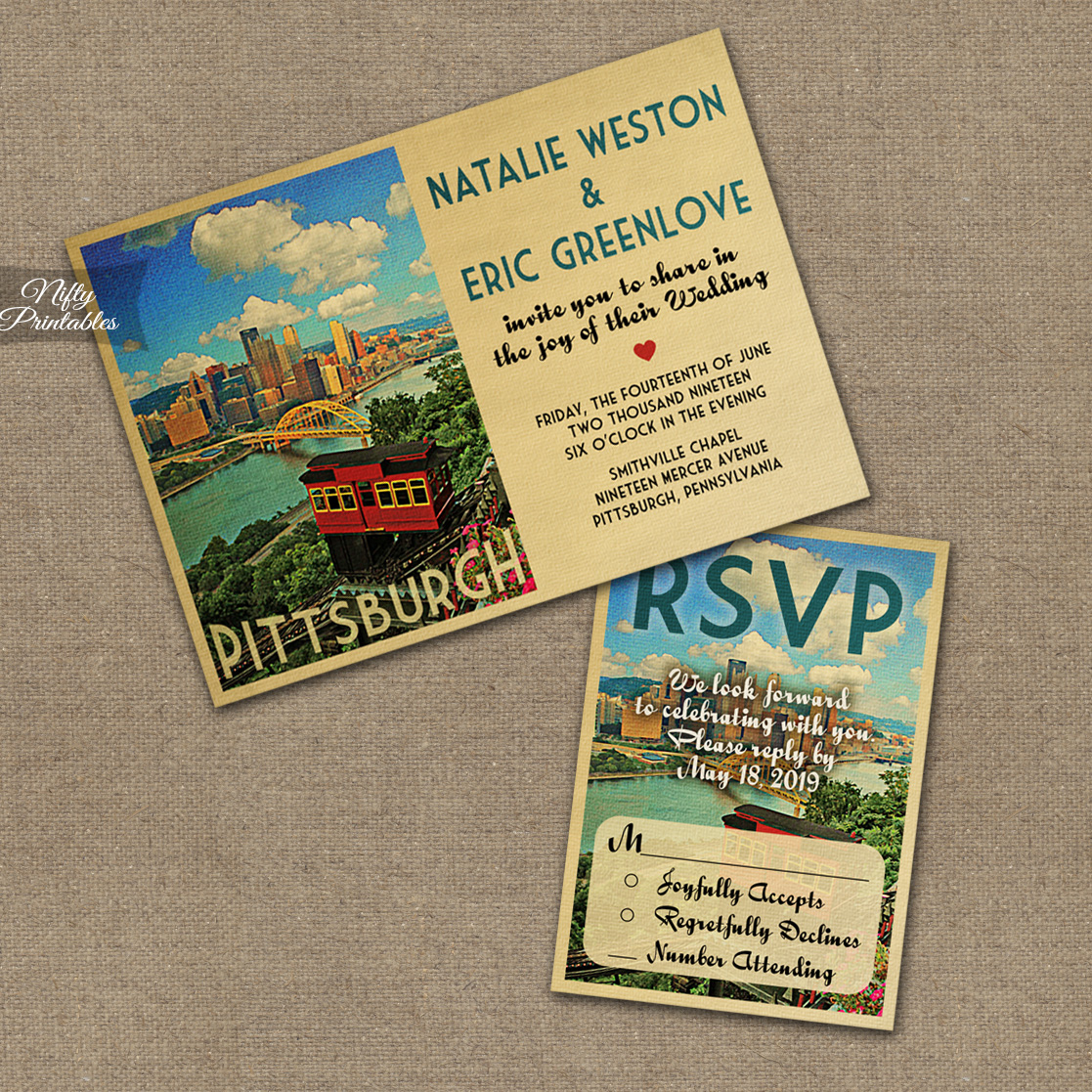 Pittsburgh Save The Date Postcards VTW