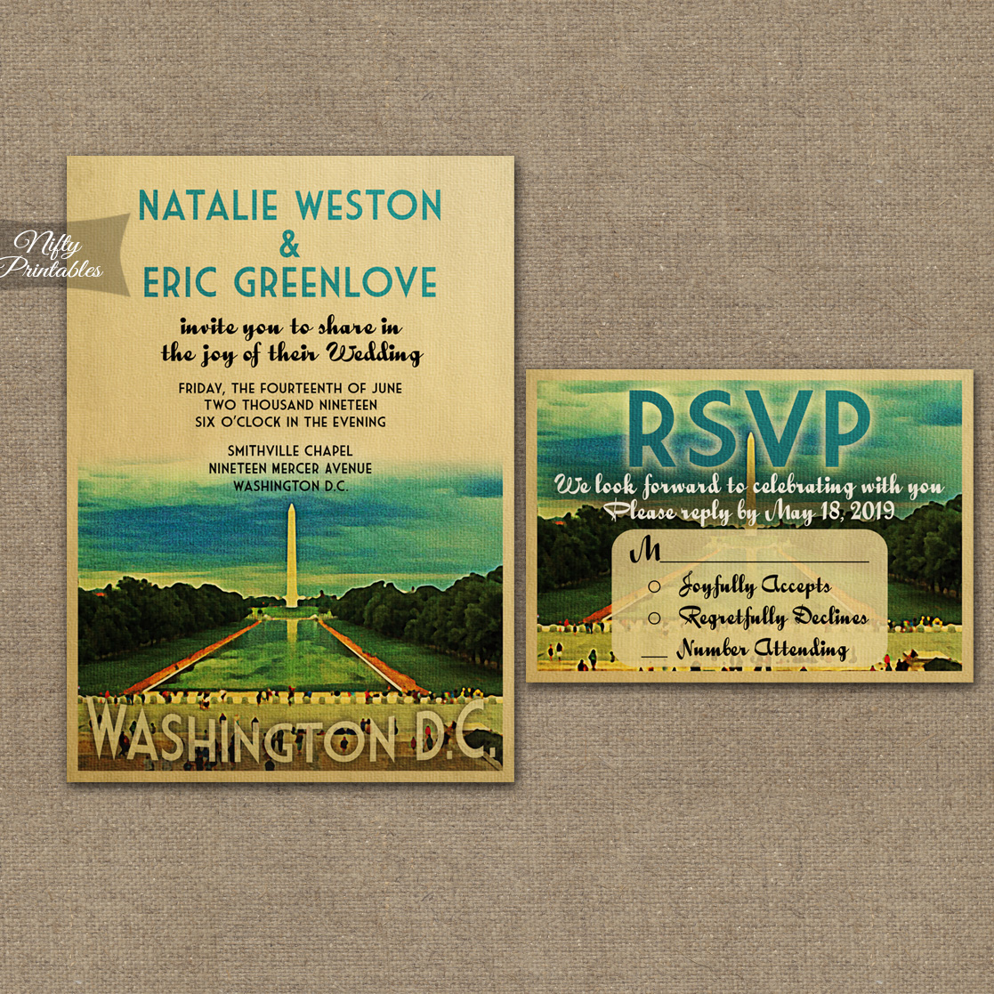 Washington DC Wedding Invitations VTW