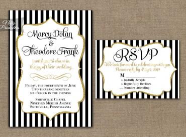 Black & White Striped Gold Wedding Invitations
