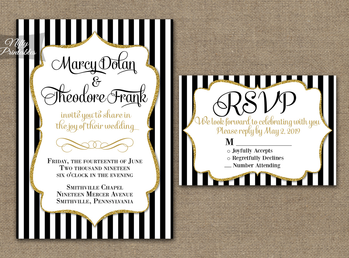 black white striped gold wedding invitations nifty printables