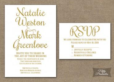 Gold Glitter White Wedding Invitations