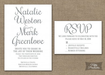 Silver Glitter White Wedding Invitations