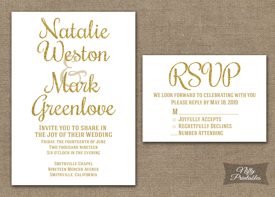 Gold Glitter White Wedding Invitations - Nifty Printables